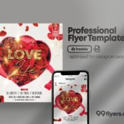 Love Party Flyer Free PSD Template