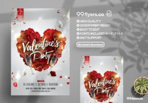 Love Valentine's Party Free Flyer Template