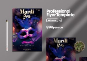 Mardi Gras Event - Free PSD Flyer Template