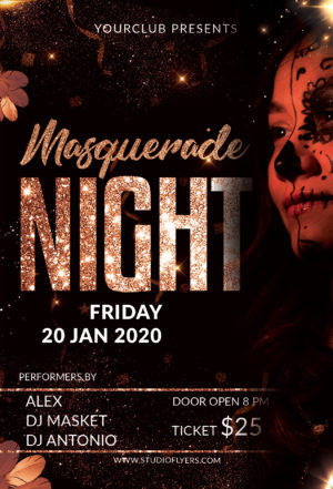 Masquerade Party Event Free PSD Flyer Template