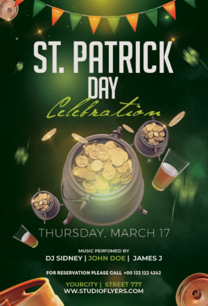 St Patrick's Event Free PSD Flyer Template