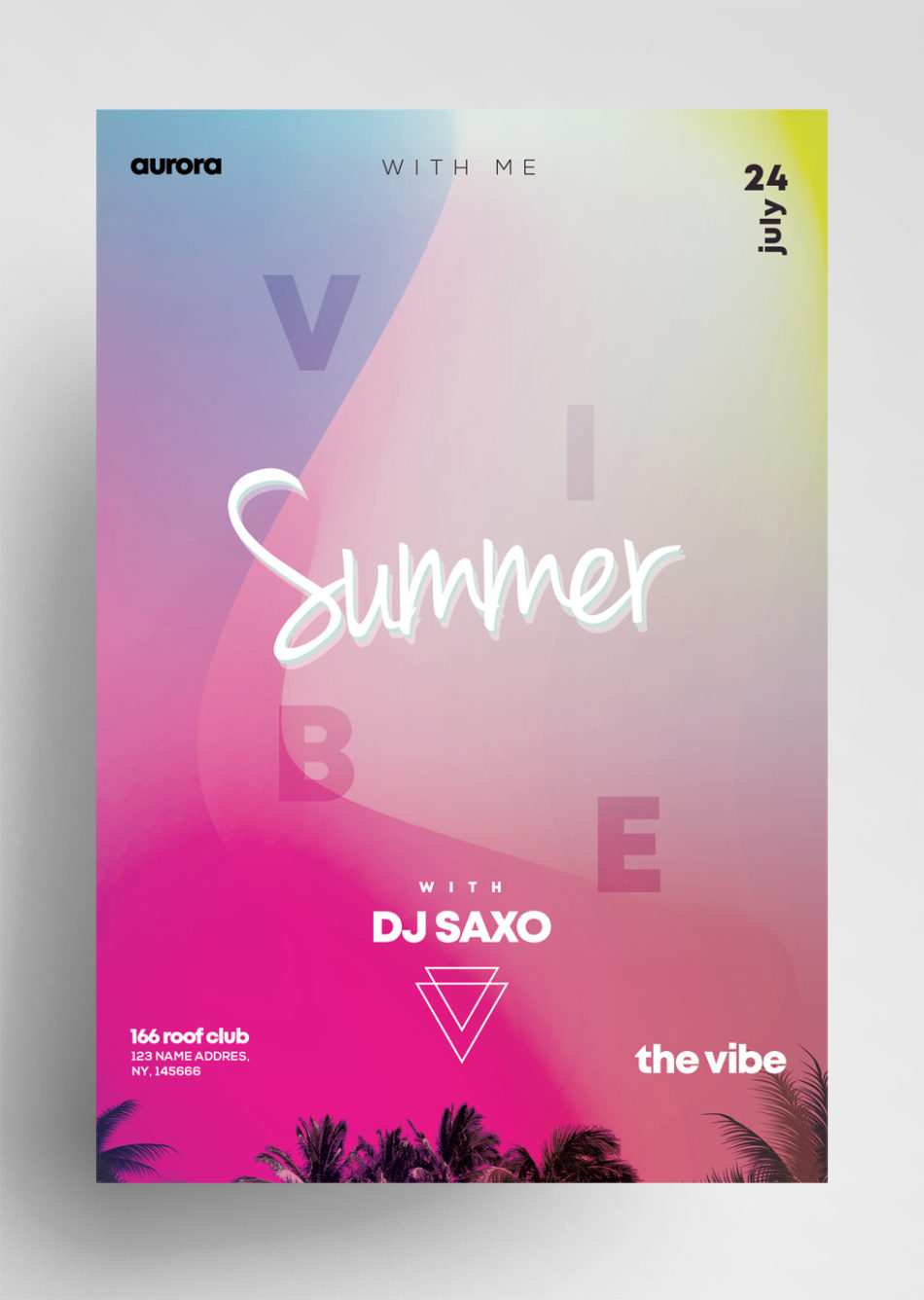Summer Vibe Free Colorful PSD Flyer Template