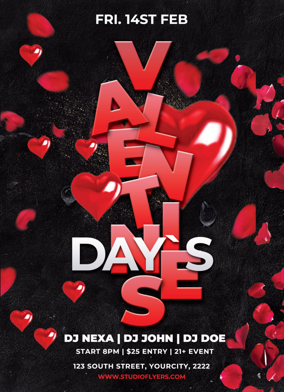 Valentines Night Event Free PSD Flyer Template