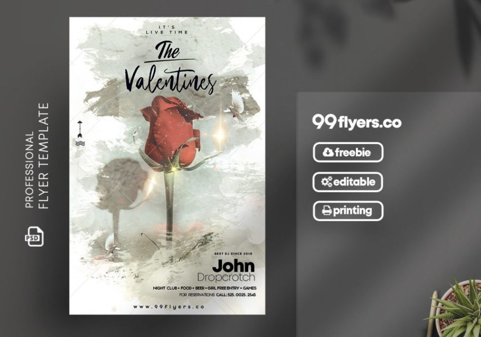 Valentines Party Freebie PSD Flyer Template