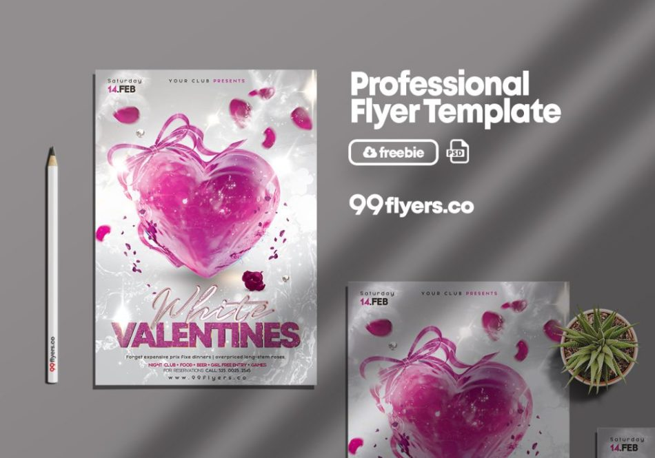 White Valentine's Day PSD Free Flyer Template