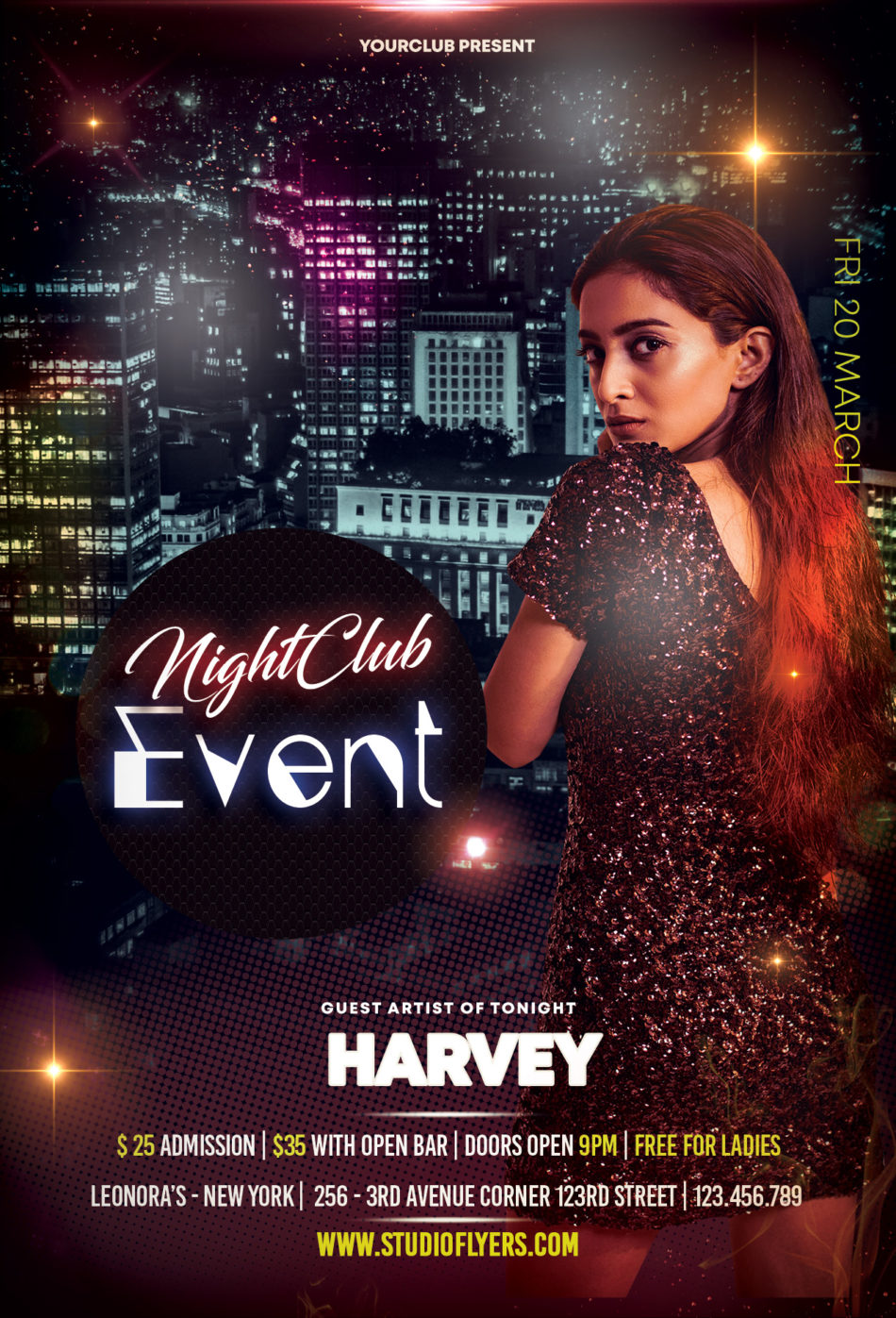 Ladies Club Night Free PSD Flyer Template