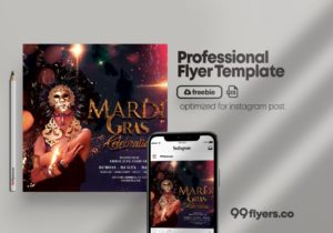 Masquerade Club Party Free PSD Flyer Template
