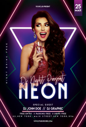Dj Neon Club Night Free PSD Flyer Template