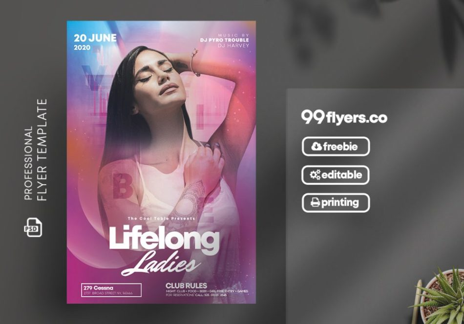 Party Club Night Flyer Free PSD Template