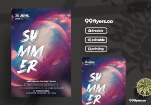 Summer Party Freebie PSD Flyer Template