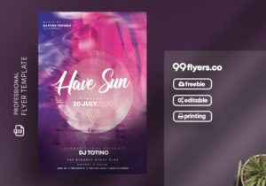 Tropical Party Night Free PSD Flyer Template