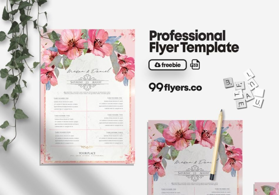 Wedding Invitation Freebie PSD Flyer Template
