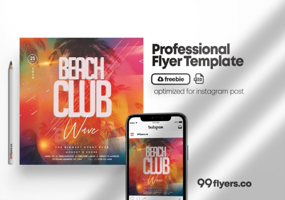 Beach Party - Free Flyer PSD Template
