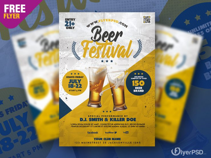 Beer Festival Free PSD Flyer Template