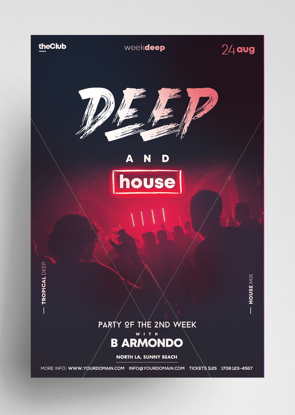 Club House Party PSD Free Flyer Template