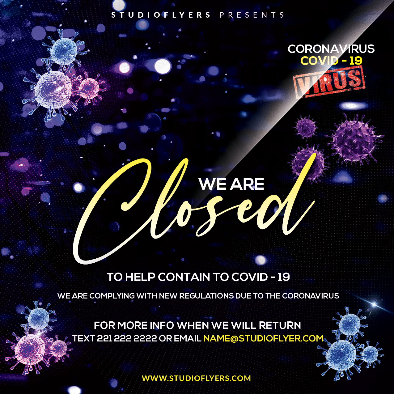 Covid-19 Closed Club - Free PSD Flyer Template