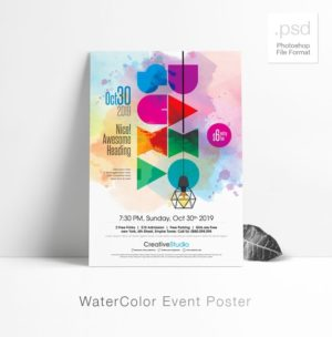 Creative Watercolor Free PSD Flyer Template