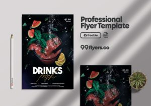 Drink Fresh Cocktail Free PSD Flyer Template