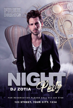 Elegant Club Party Freebie Flyer PSD Template