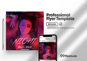 Free Party Night PSD Flyer Template
