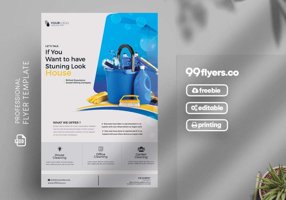 Home Cleaning Service Flyer Free PSD Template
