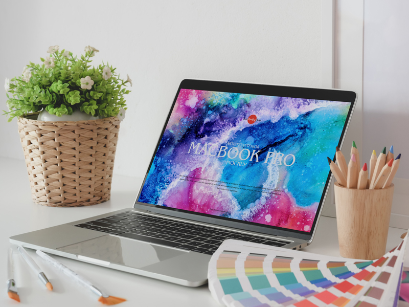 Macbook Pro Interior Free PSD Mockup