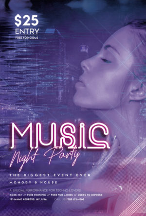Neon Music Party Free Flyer PSD Template