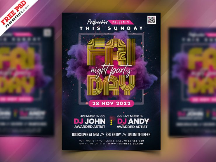 Night Party - Free Flyer PSD Template