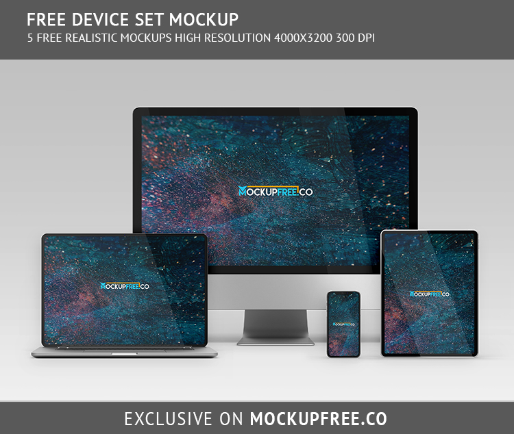 Responsive All Apple Device Free PSD Mockup