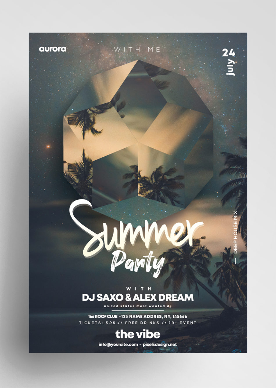 Summer Night Party - PSD Flyer Free Template