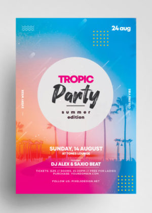 Summer Party - Freebie Flyer PSD Template