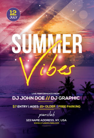 Club Night Summer Vibes Free PSD Flyer Template
