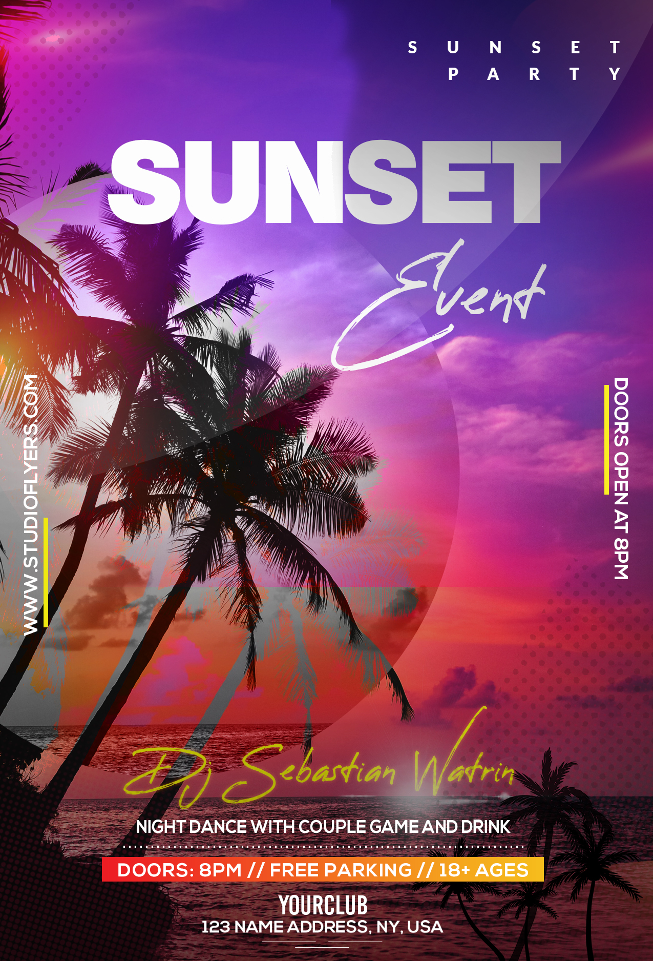 Tropical Night Party Free PSD Flyer Template