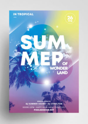 Tropical Summer Party Free PSD Flyer Template