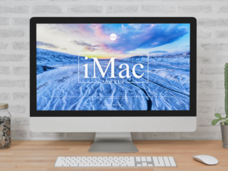 iMac Placing on Wooden Table Free PSD Mockup