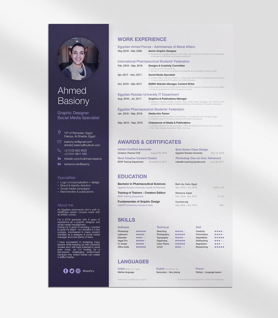 Advanced Cv and Resume Free PSD Template