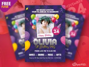 Birthday Party Invitation Free PSD Flyer Template
