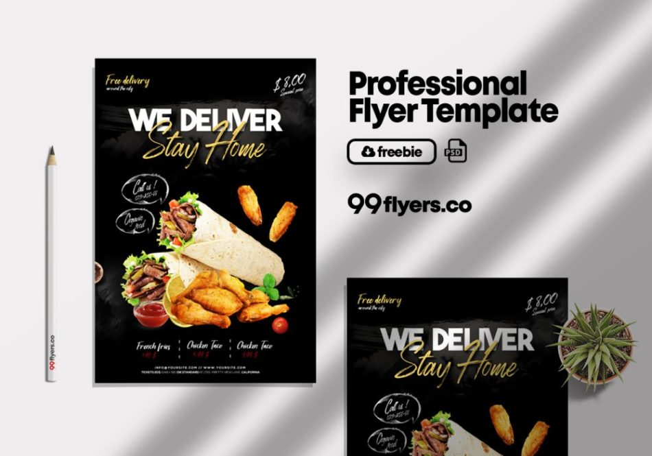 Delivery Food Flyer Free PSD Template