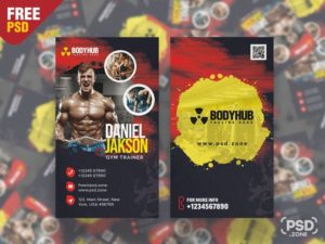 Gym Trainer Vertical Free PSD Business Card