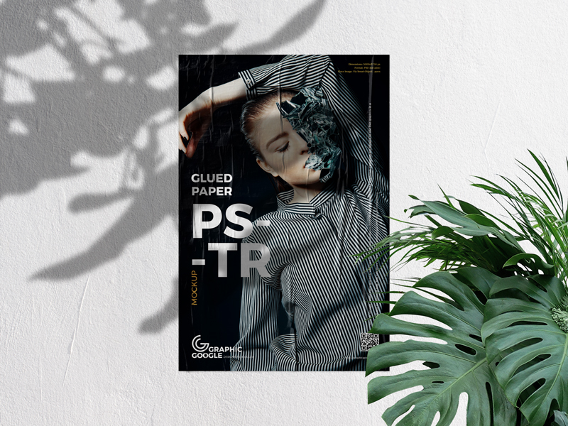 Paper on Concrete Wall Poster Free Mockup