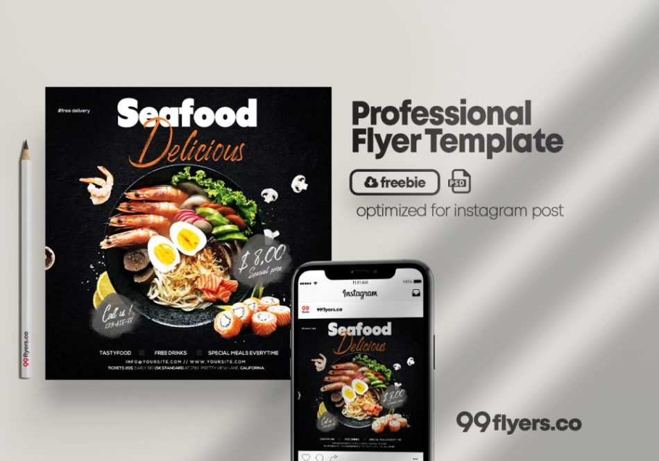 Seafood Delicious Freebie PSD Flyer Template