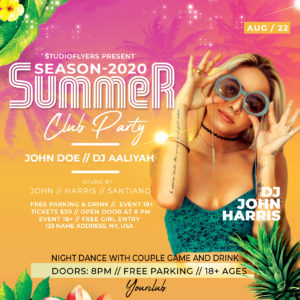Tropical Event Party Free Flyer PSD Template
