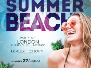 Beach Event Time Free PSD Flyer Template