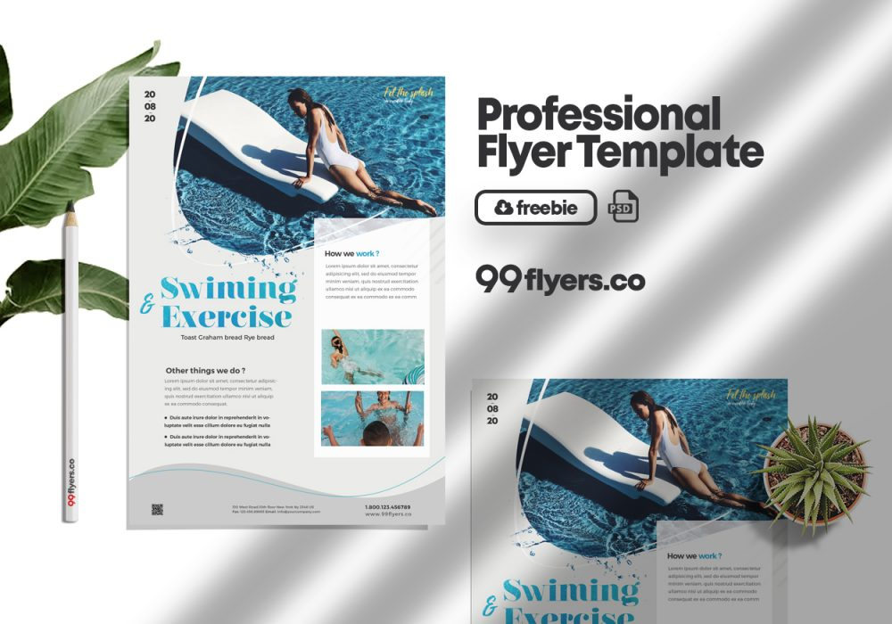 Swimming Lessons Freebie Flyer PSD Template