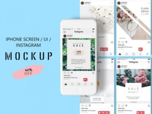 iPhone Screen : UI : Instagram Design Free Mockup