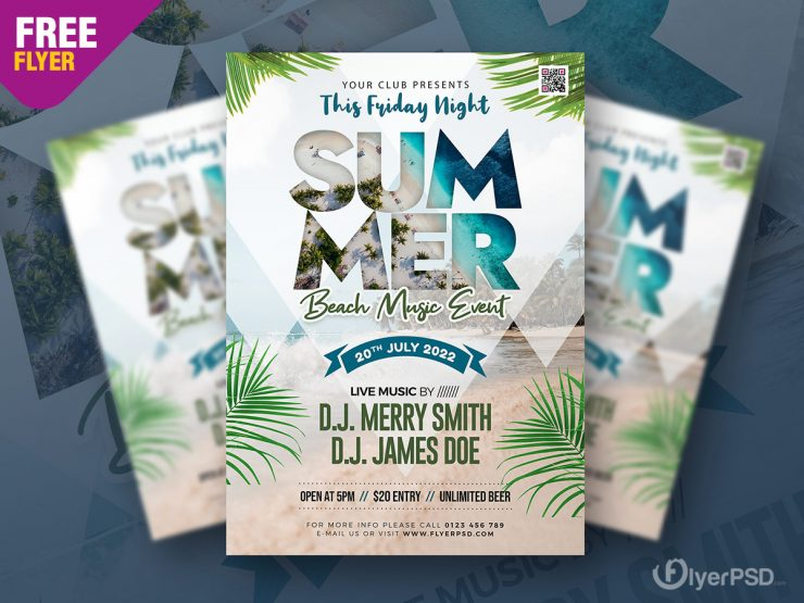 Beach Music Event Free PSD Flyer Template