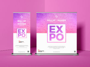 Expo Roll-Up Design Banner Free PSD Mockup