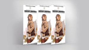 Fashion Roll Up Banner Free PSD Mockup