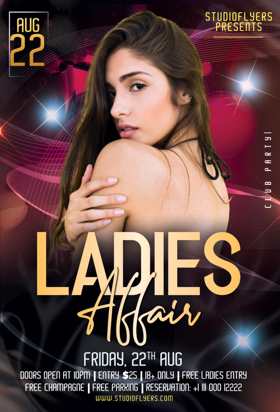 Ladies Club Night Freebie Flyer PSD Template