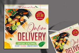 Online Delivery Food Free PSD Flyer Template